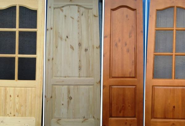 Характеристики дверей из сосны, дуба и ольхи