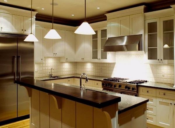 Выбор потолочных светильников для различных зон кухни
