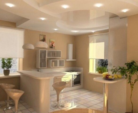 Разные виды кухонных потолков из ГКЛ и их особенности