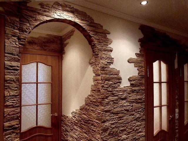 Отделка искусственным камнем дверного проема: технология облицовки