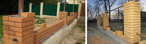 Фундамент под забор с кирпичными столбами: виды, инструкция