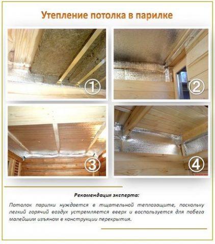 Утепление парилки - внимание на стены и потолок
