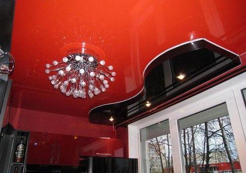 Интерьер потолка на кухне: покраска и натяжные потолки