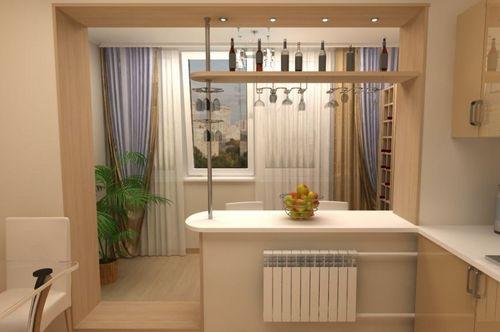 Дизайн кухни с выходом на балкон для расширения пространства