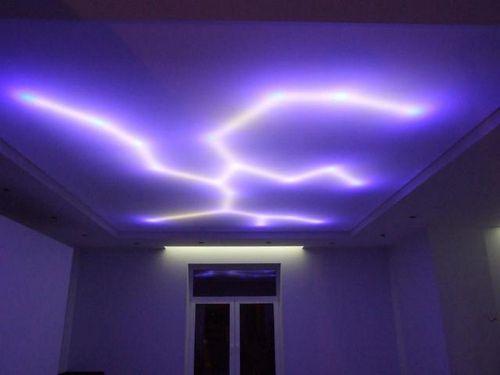 Подсветка изнутри натяжного потолка с помощью светодиодной