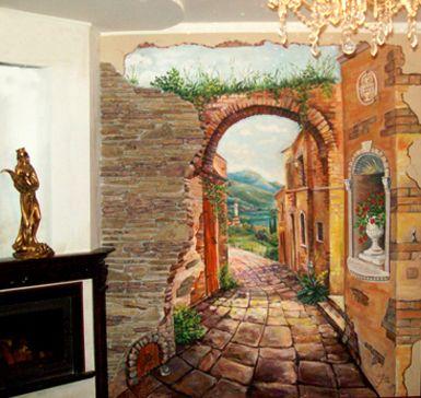 Настенные фрески в интерьере - Фото