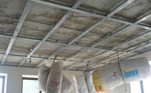 Каркас потолка из профиля под гипсокартон: чертеж, монтаж