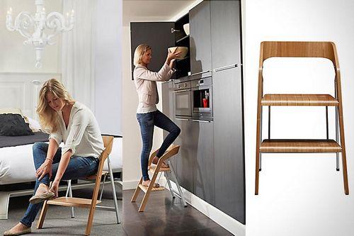 Стул-стремянка: деревянная лестница и складной алюминиевый