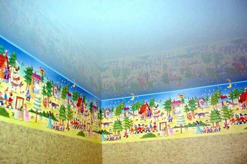 Как оформить натяжные потолки в детской комнате своими руками