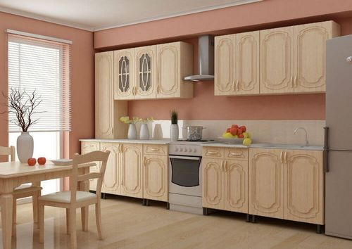 Фасады из дерева и деревянные столы для кухни